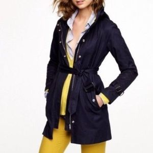 J Crew Coat Trench Hooded MATINEE Cotton Navy Blue